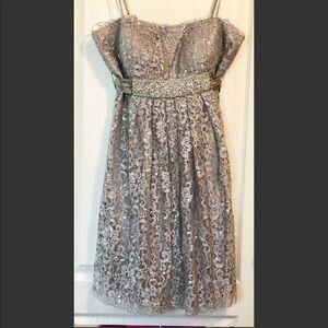 Oleg Cassini silver lace dress 12